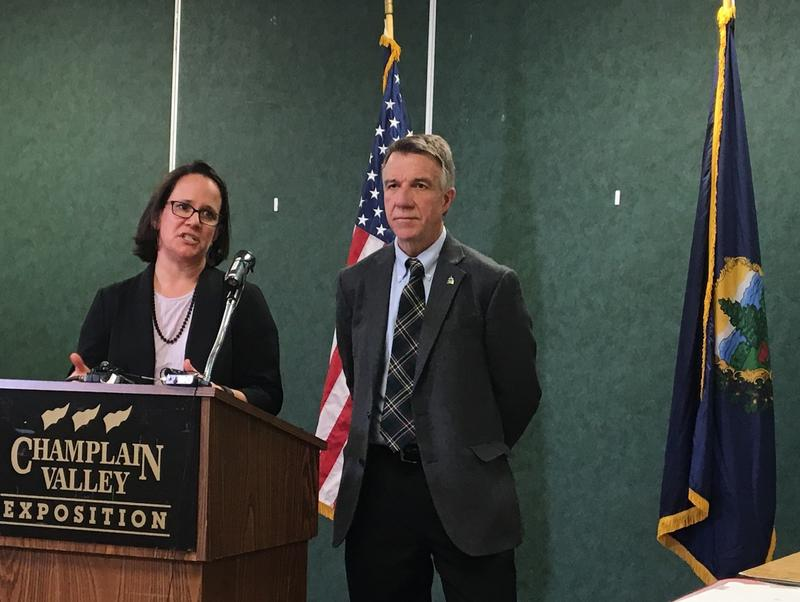 Natural Resources Secretary Julie Moore and Gov. Phil Scott outline Vermont's phosphorus innovation challenge geared at reducing nutrient pollution in Lake Champlain.