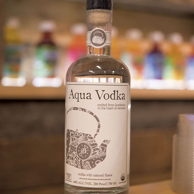 Aqua Vodka is produced by Appalacian Gap Distillery using excess alcohol from the fermentation-process of making Aqua ViTea's kombucha.