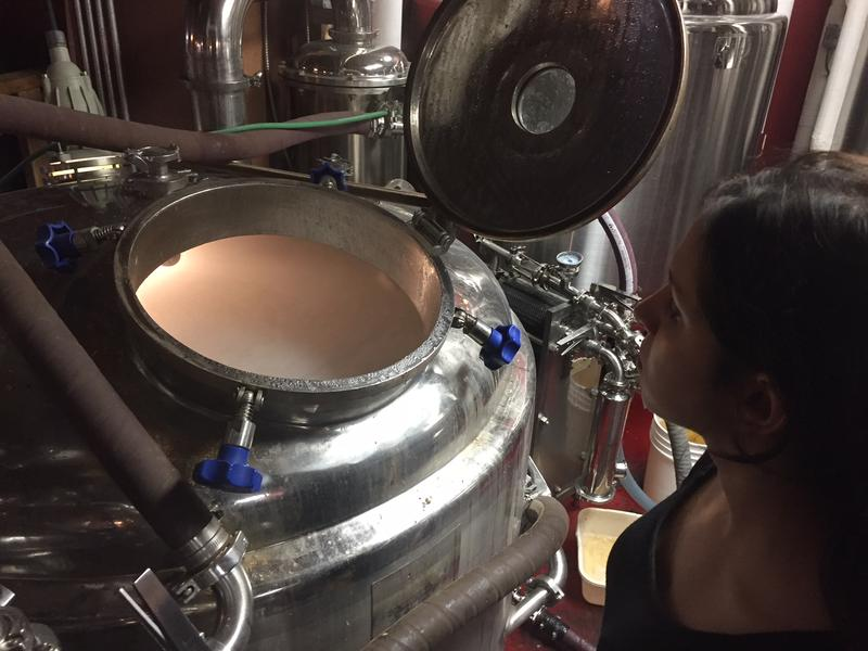 Victoria Banerjee checks on a tank of wort, or unfermented beer, at Hermit Thrush Brewery in Brattleboro.
