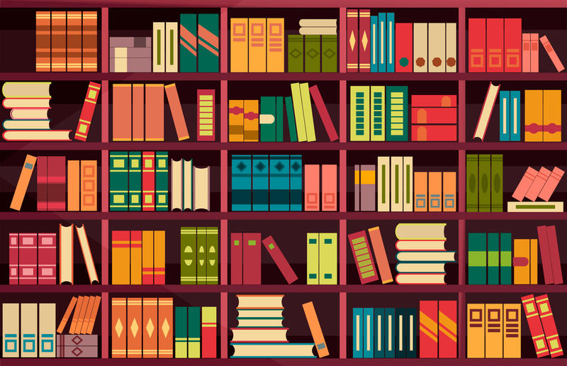 An illustration of books on shelves.