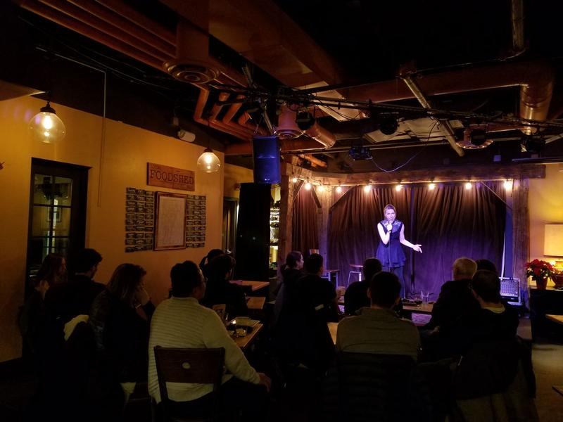 "Local comedian Tina Friml performs at ""Comedy And Crepes"" at The Skinny Pancake in Burlington on Nov. 27, 2017."