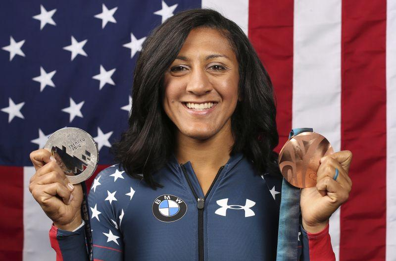 United States Olympic Winter Games bobsledder Elana Meyers Taylor poses for a portrait at the 2017 Team USA Media Summit Monday, Sept. 25, 2017.