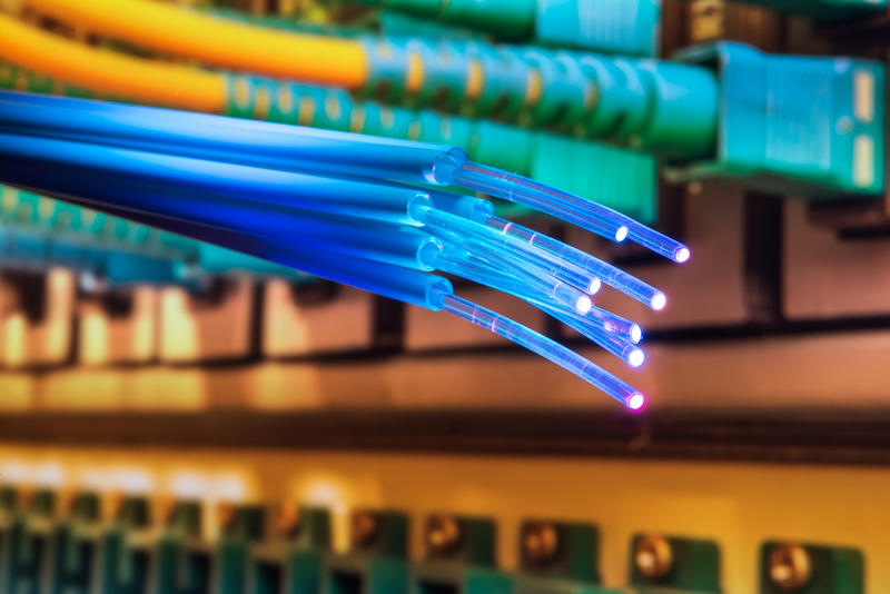 Stock image of fiber-optic cables.