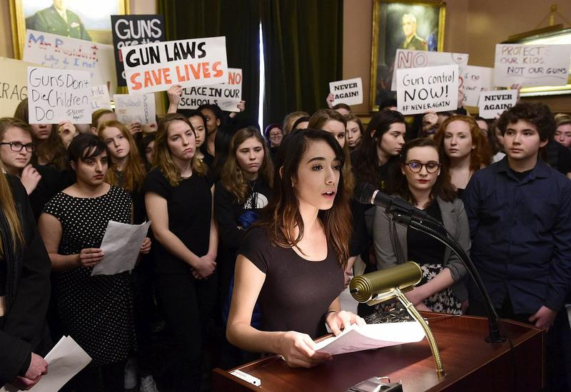Jordan Verasamy, 14, of Essex, joined students from across Vermont at a press conference in Montpelier Thursday to call on lawmakers to pass legislation that would require background checks for private gun sales.
