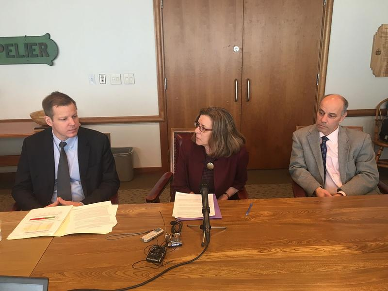 Commissioner of Taxes Kaj Samsom, Secretary of Administration Susanne Young and Commissioner of Finance Adam Greshin, from left, walk reporters through a proposed tax overhaul that they say will avoid a $30 million tax hike on Vermonters this year.
