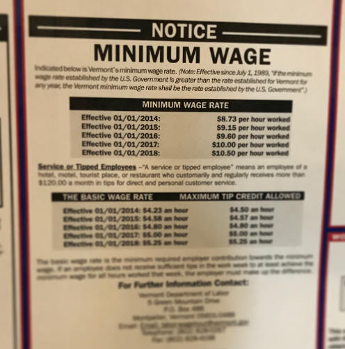 A sign posted at Vermont Public Radio showcases the rise in state minimum wage over recent years. The photo has a filter out areas of the document while leaving other parts in focus.