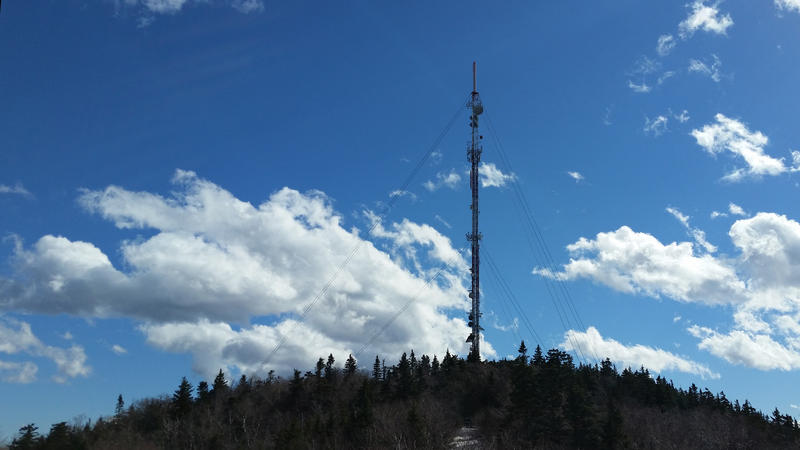 WVPR and WNCH Tower on Mt. Ascutney, in March 2017