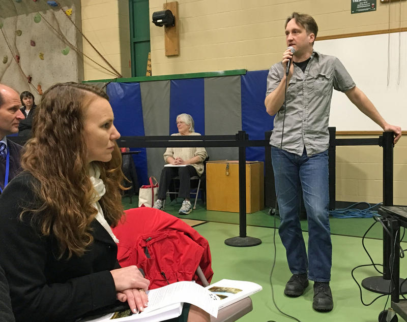 Central Vermont Internet founder Jeremy Hansen answers questions about the proposal at town meeting in Berlin, where he also sits on the select board.