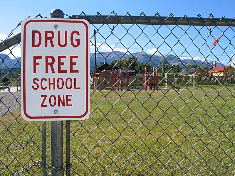 A Drug Free School Zone sign on a chain link fence with a playground in the background.