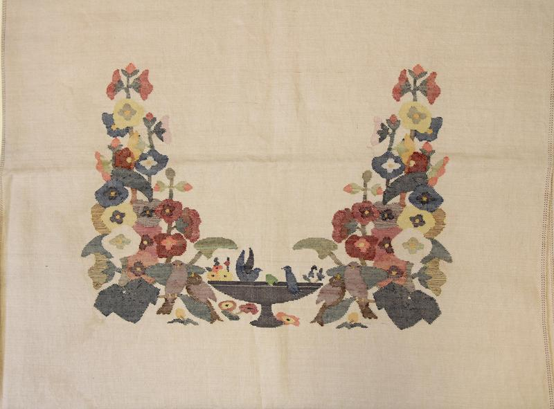 This 'Between Meals Tablecloth,' ca. 1900, in embroidered cotton from Elizabeth Fisk Looms (1890-1935) was a gift of Estelle Foote, M.D. to the Fleming Museum of Art, at the University of Vermont in 1956.