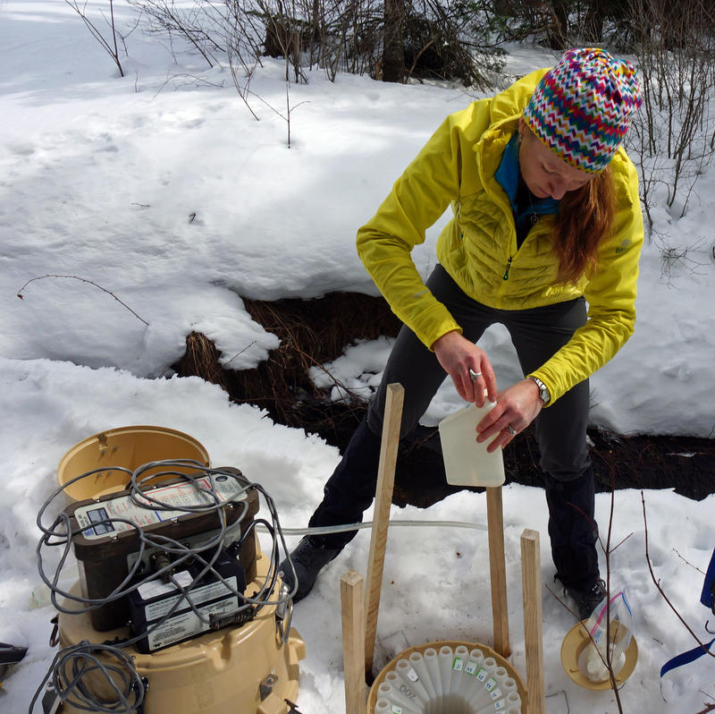 Rebecca Harvey, a scientist with Vermont's Acid Lakes Monitoring Program, caps a water sample taken by a solar-powered automatic sampler at an outlet flowing from Hardwood Pond, in Elmore.