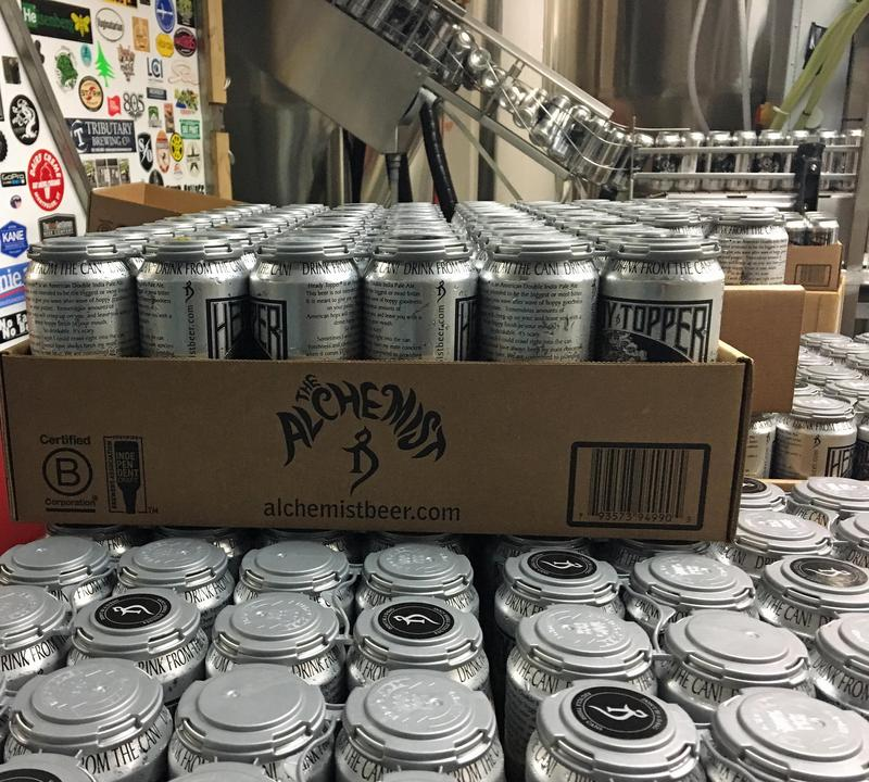Cans of Heady Topper roll off the production line at The Alchemist brewery, in Waterbury. The brewery recently intentionally over-built a solar project and is sharing its extra power with the Waterbury Area Senior Center.