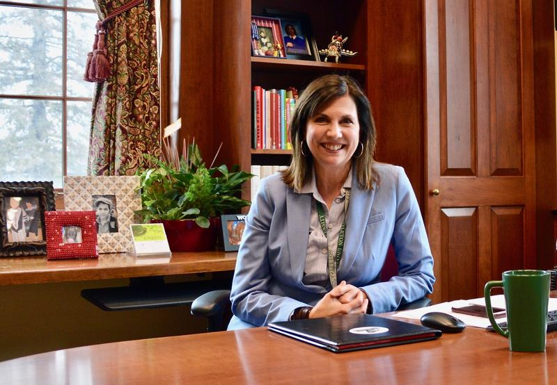 Castleton University President Karen Scolforo sits in the office she took over in December. Scolforo says she's optomistic the univeristy will be able to correct a budget deficit of $1.5 million the university is currently facing.