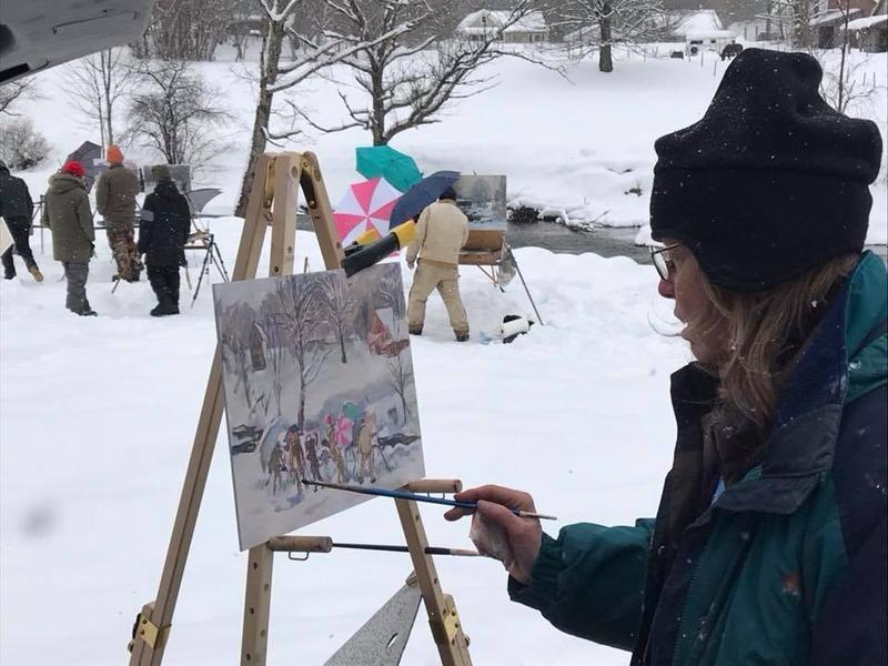 Painter Kim Senior paints the 'en plein air' painters in Jeffersonville.