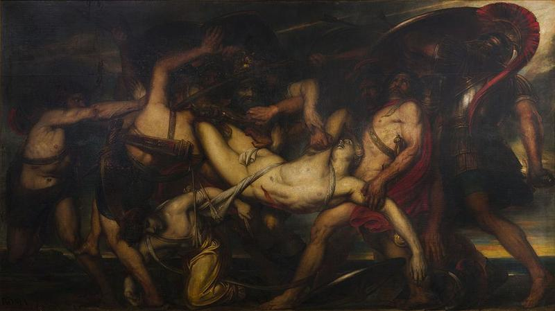 """The Battle of the Greeks and Trojans for the Corpse of Patroclus"" by Antoine Wiertz"