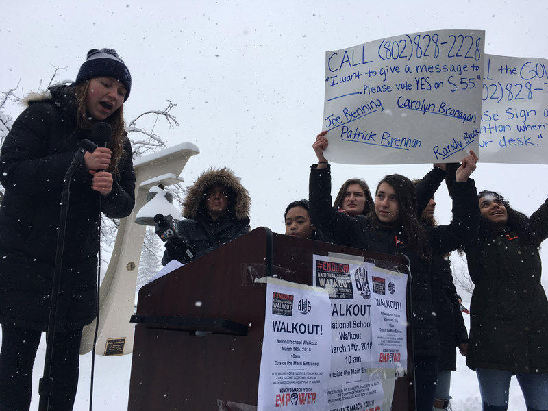 Allie Brown, a senior at Burlington High School, spoke at the rally. She urged her peers to call their state representatives about supporting a bill that would requre background checks for all gun purchases.