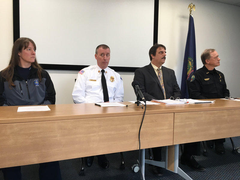 (left to right) Chief Amy Akerlind, Colchester Rescue, Chief Steven Locke, Burlington Fire Department, Aaron Frank, Deputy Town Manager in Colchester, and South Burlington Police Chief Trevor Whipple, present the plan for a consolidated dispatch center.