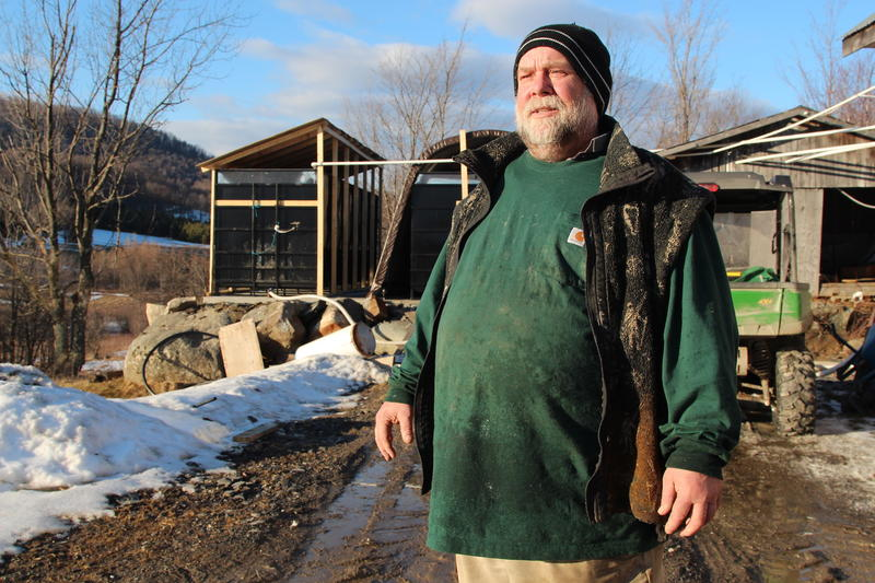 Syrup producer David Hall stands outside near Lac Brome, Québec.