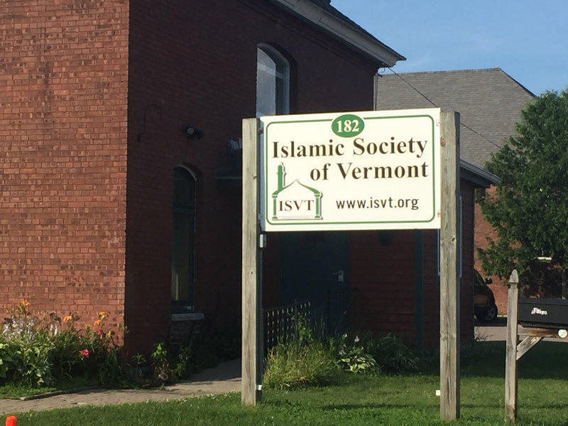 The sign outside the Islamic Society of Vermont seen in July 2017.