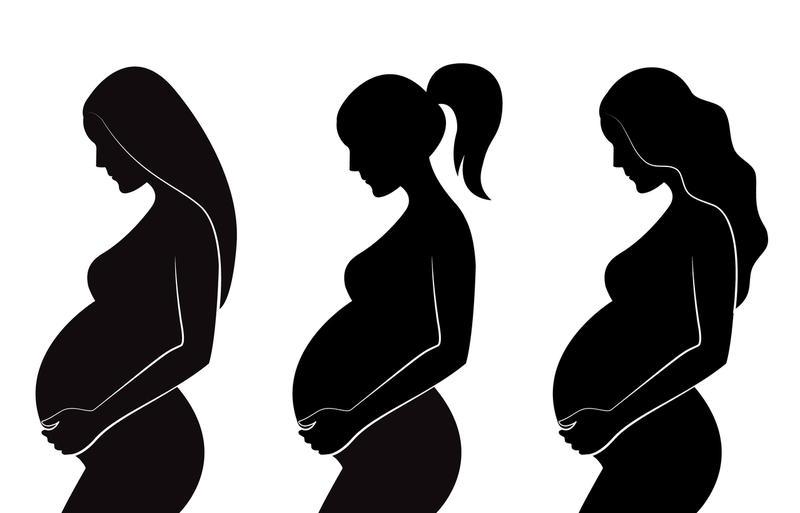 Three silhouettes of pregnant women, each with a different hairstyle.