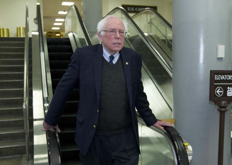 Sen. Bernie Sanders on coming to the bottom of an escalator at Capitol Hill on Feb. 9, 2018.