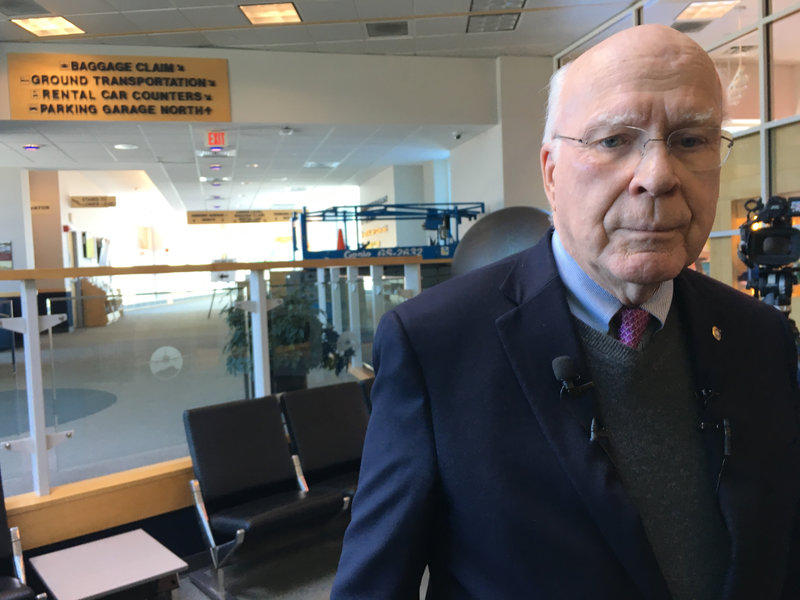 Sen. Patrick Leahy at Burlington International Airport on March 19, 2018.