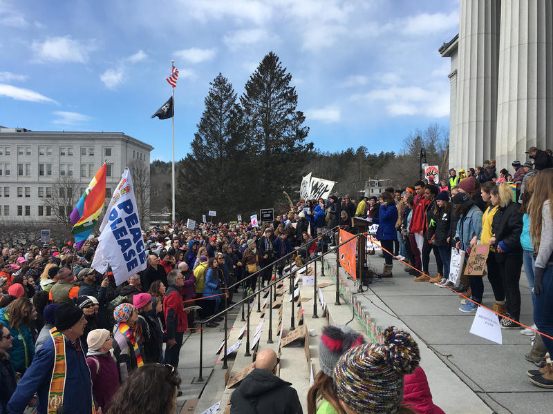 "Speakers lined up at the Vermont Statehouse entrance at the ""March for Our Lives"" on March 24."
