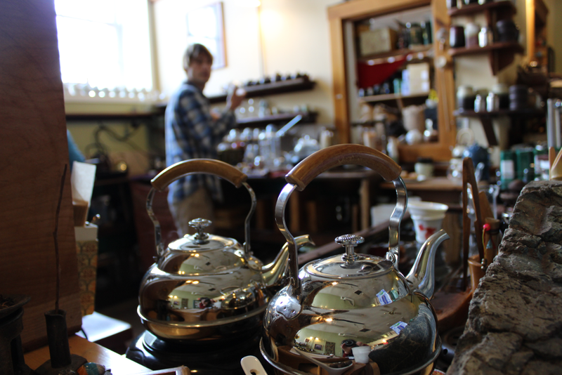 Vermont's tea culture abounds with many tea rooms around the state including Stone Leaf Teahouse in Middlebury (owner, John Wetzel, in background).