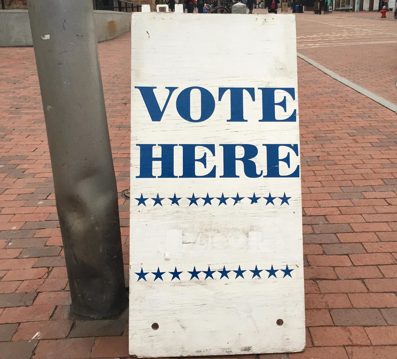 "A ""Vote Here"" sign outside Burlington City Hall on Church Street."