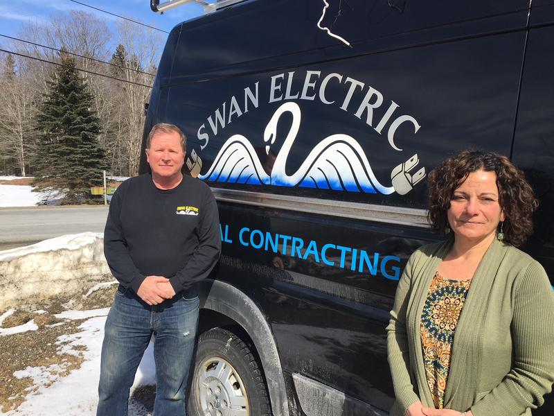 Camille Swanson, right, and her husband Doug Swanson own Swan Electric in Wilmington. The company has had to scramble for work for this coming summer after The Hermitage shut down.