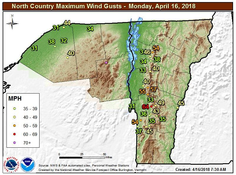 Maximum wind gusts expected for Monday, April 16, 2018 according to the National Weather Service.