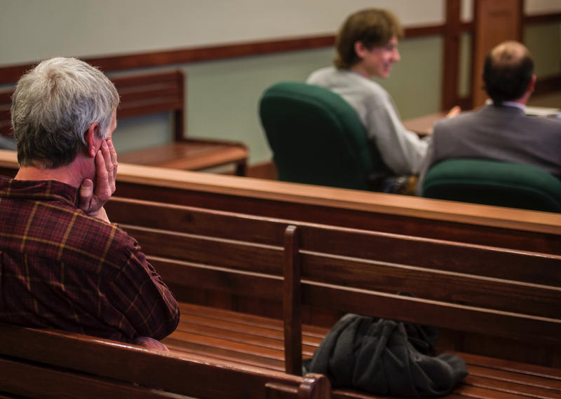 Jack Sawyer's father, left in the courtroom Tuesday night. Jack Sawyer can be seen on the right.