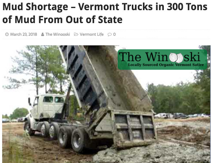 A recent satirical article on Hall's website, The Winooski.