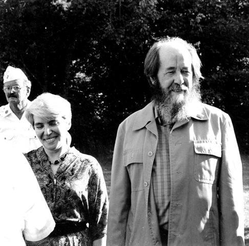 Aleksandr Solzhenitsyn with wife Natalia in 1991 at Cavendish Bicentennial Celebration.
