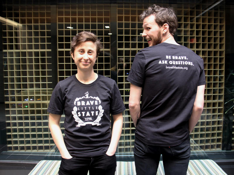 Reporters Emily Corwin and Liam Elder-Connors model the new Brave Little State t-shirt.