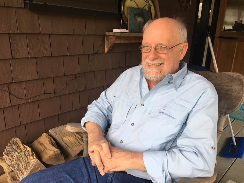 Rep. David Deen relaxes on his porch in Westminster. Deen hopes to spend more time fly fishing when his legislative career is over.
