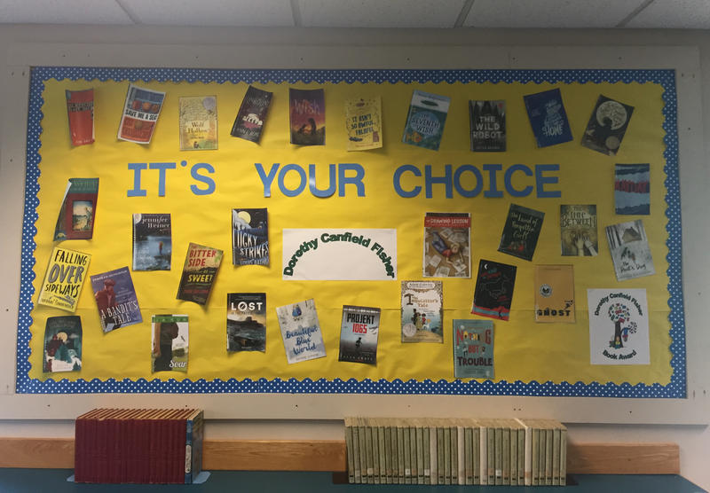 A wall display at Northfield Elementary School featured the covers of all this year's nominees for the Dorothy Canfield Fisher Book Award.