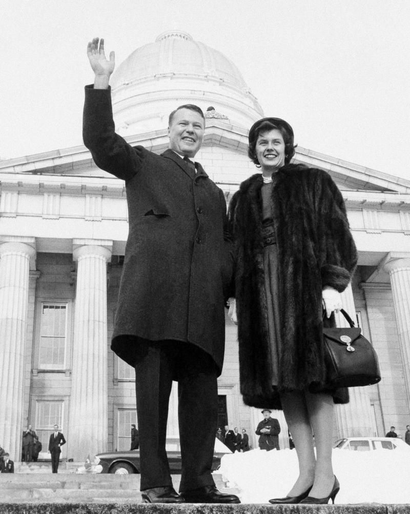 Philip Hoff and his wife, Joan, pose in front of the Vermont Statehouse at Hoff's gubernatorial inauguration, which took place Jan. 17, 1963.