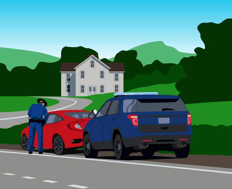 An illustration of a car pulled over on a road by a police officer and the cop is talking to the driver. There is a blue sky, green mountains and a grey house in the background.