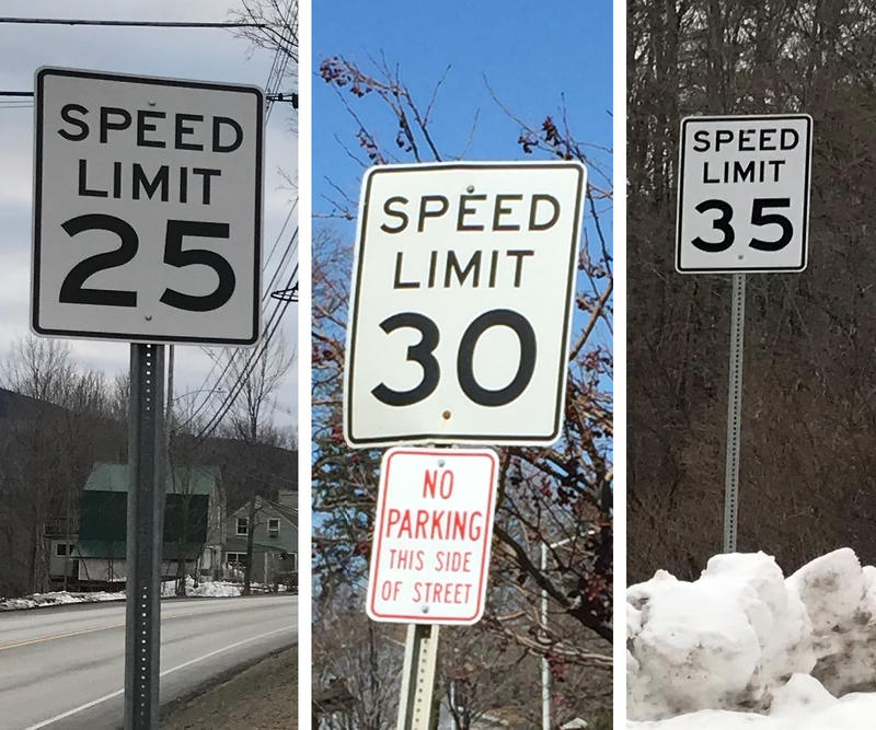 Three speed limit signs, one that says 25 mph, one that says 30 mph along with a No Parking This Side of Street sign, and one that is 35 mph