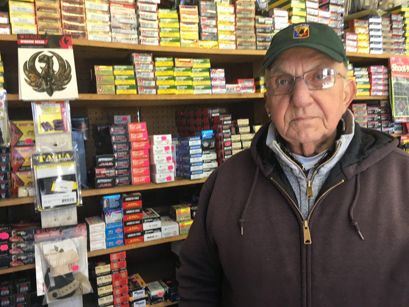 Vince Dattilio works at Dattilios Guns and Tackle, a store in South Burlington that his son owns. He says Gov. Phil Scott is a turn coat for signing gun control bills into law.