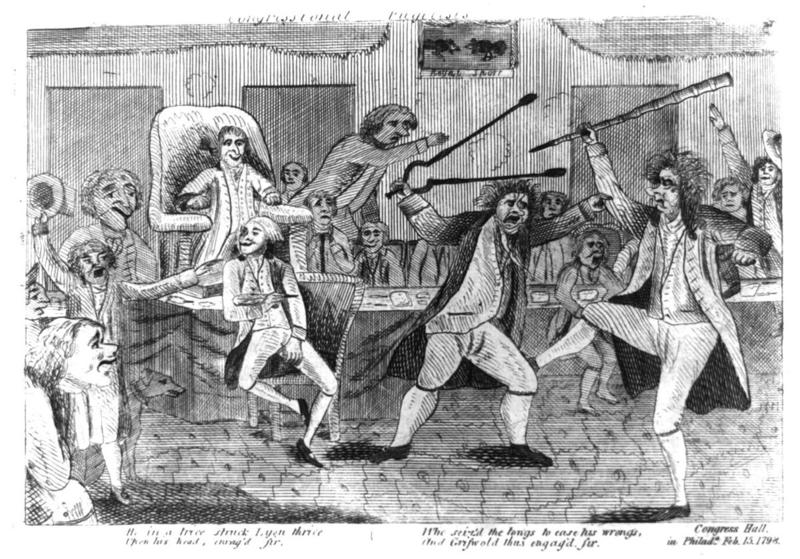 A February 1798 political cartoon portraying Matthew Lyon (holding tongs) attacking Connecticut Congressman Roger Griswold. After Griswold called Lyon a scoundrel, Lyon spat on Griswold's face and their brawl ensued.