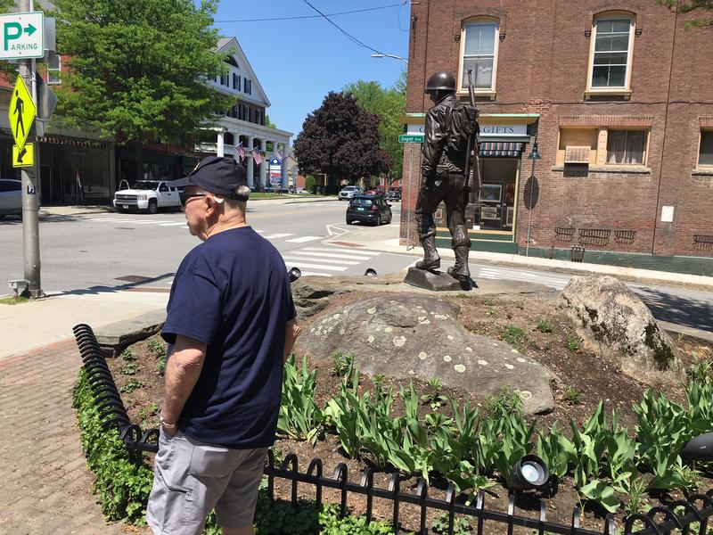 Milt Ducharme, an original member of the Windsor Veterans Memorial Committee checks out the memorial on Main Street in Windsor. The committee recently voted to disband.