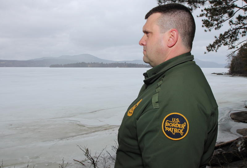 U.S. Border Patrol agent Richard Ross near the international border along Lake Memphremagog.