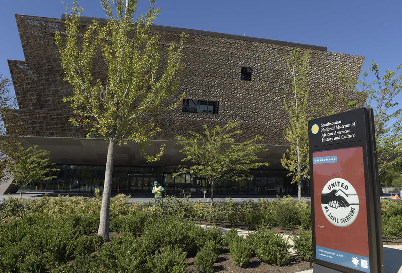 The National Museum of African American History and Culture in Washington, shown in a file photo from its grand opening in 2016, tells the story of black people in the U.S. through compelling artifacts and mementos.