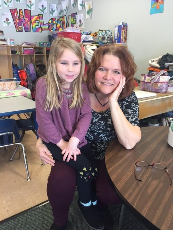 Julie Ste. Marie in her classroom with student, Avery Sevigny