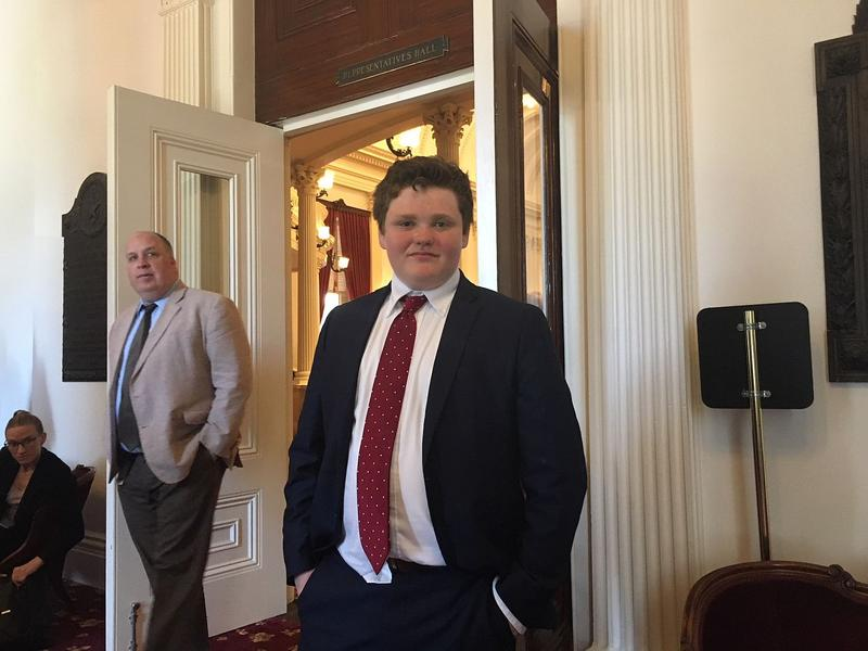 Ethan Sonneborn, seen here outside the chamber of the Vermont House of Representatives, says he wants more young people to get engaged in the political process.