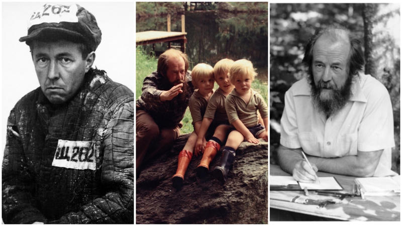 Newly exiled Aleksandr Solzhenitsyn in Kazakhstan in 1953 (left); Solzhenitsyn  with his sons in Cavendish in August 1976; Solzhenitsyn at his self-made writing table in Cavendish during the 1980s.