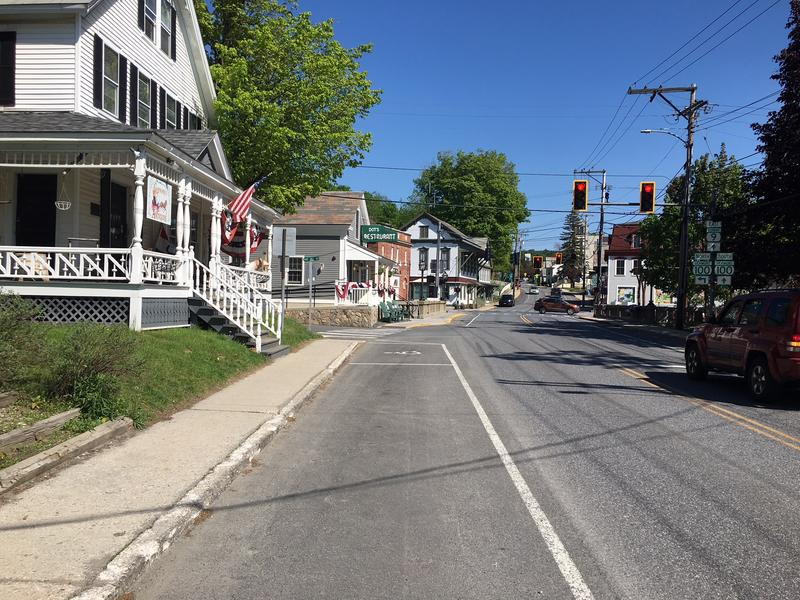 A streetview of downtown Wilmington, Vermont.