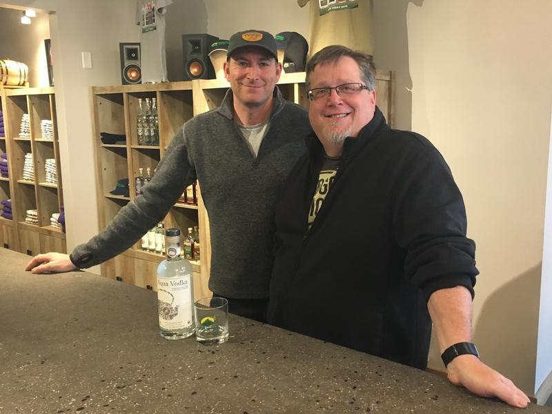 Jeff Weaber (L), founder/CEO of Aqua ViTea, and Lars Hubbard (R), co-owner of Appalachian Gap Distillery have partnered up to make Aqua Vodka: a vodka made with alcohol extracted from kombucha.